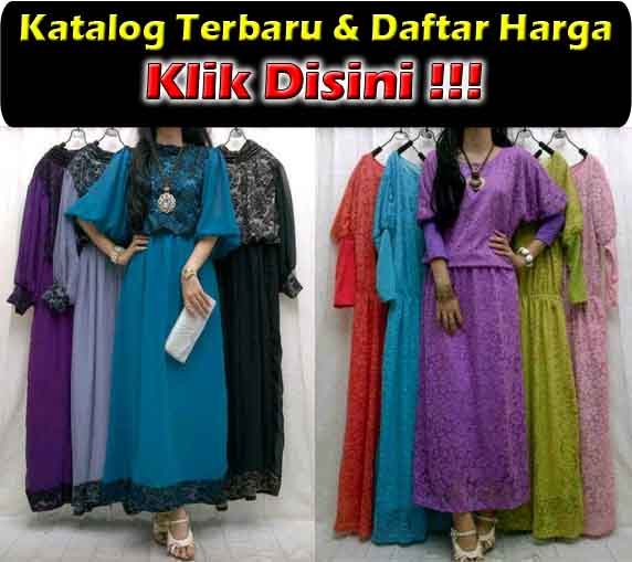 jual maxi dress trendy bahan brokat